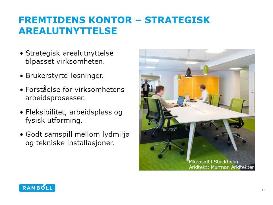 FREMTIDENS KONTOR – STRATEGISK AREALUTNYTTELSE •Strategisk arealutnyttelse tilpasset virksomheten.