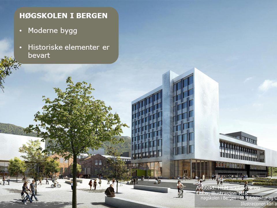 Arkitekt: HLM arkitektur og Cubo, illustrasjon MIR HØGSKOLEN I BERGEN • Moderne bygg • Historiske elementer er bevart