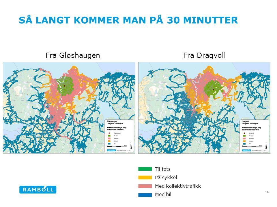 SÅ LANGT KOMMER MAN PÅ 30 MINUTTER 16 Fra Gløshaugen Fra Dragvoll Til fots På sykkel Med kollektivtrafikk Med bil