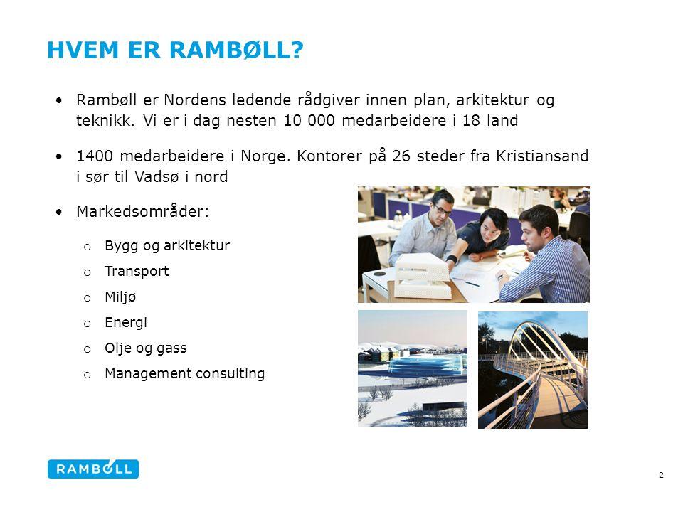 HVEM ER RAMBØLL? •Rambøll er Nordens ledende rådgiver innen plan, arkitektur og teknikk. Vi er i dag nesten 10 000 medarbeidere i 18 land •1400 medarb