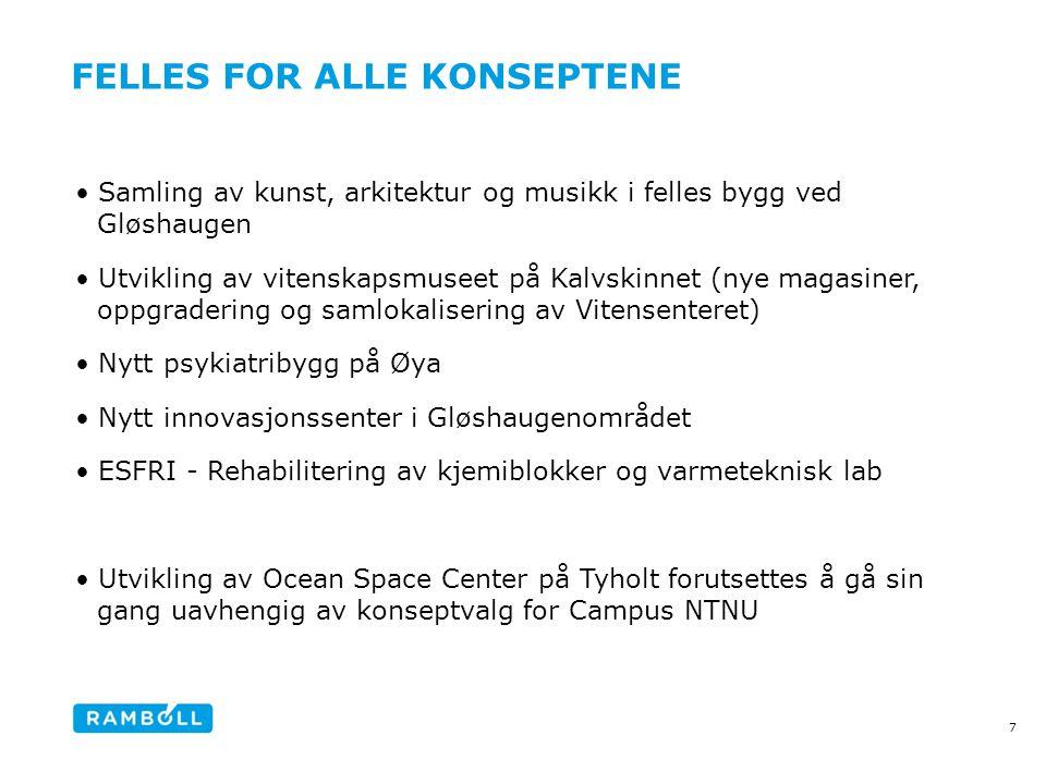 FELLES FOR ALLE KONSEPTENE •Samling av kunst, arkitektur og musikk i felles bygg ved Gløshaugen •Utvikling av vitenskapsmuseet på Kalvskinnet (nye mag