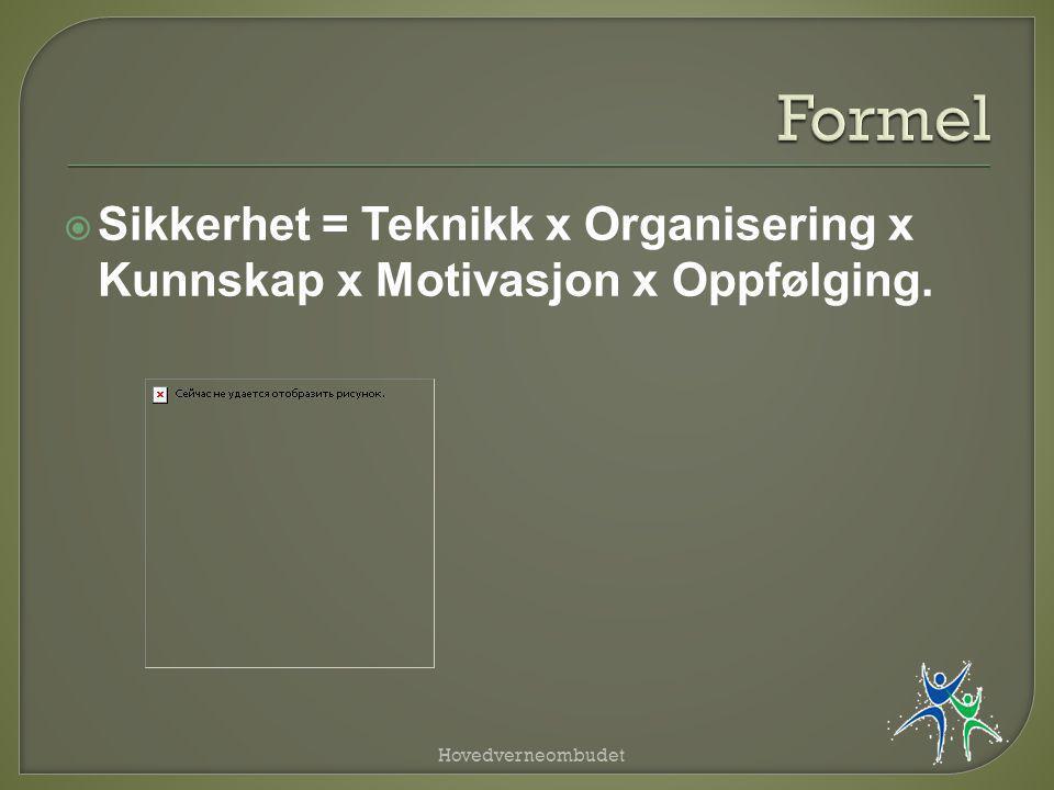  Sikkerhet = Teknikk x Organisering x Kunnskap x Motivasjon x Oppfølging. Hovedverneombudet