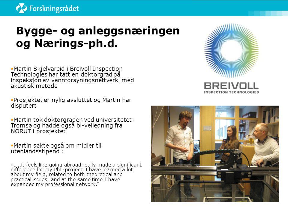  Rambøll har to Nærings-ph.d.- prosjekter:  Hallgrim Hjelmbrekke forsker på effektvurderinger av byggeprosjekter og konsekvenser for konsept og gjennomføring.