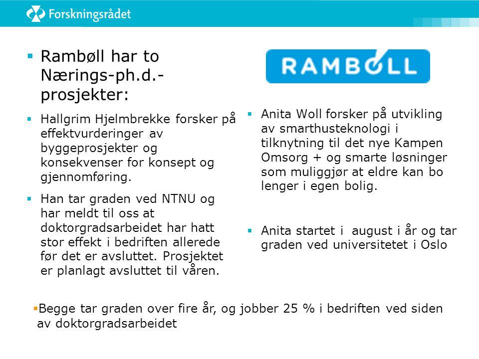  Rambøll har to Nærings-ph.d.- prosjekter:  Hallgrim Hjelmbrekke forsker på effektvurderinger av byggeprosjekter og konsekvenser for konsept og gjen