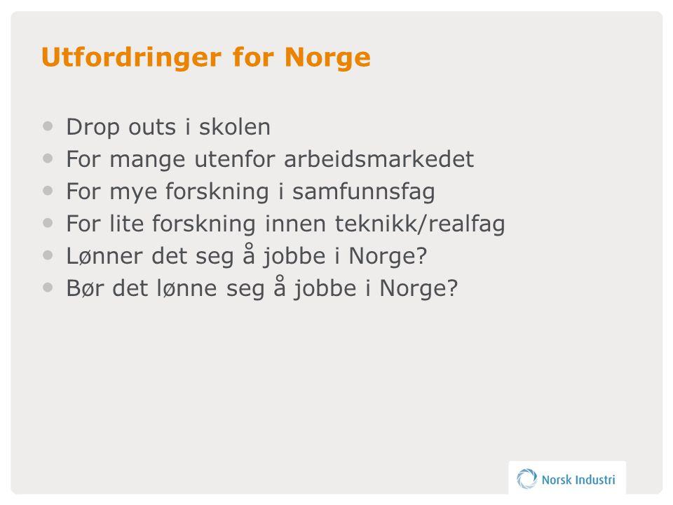Utfordringer for Norge • Drop outs i skolen • For mange utenfor arbeidsmarkedet • For mye forskning i samfunnsfag • For lite forskning innen teknikk/realfag • Lønner det seg å jobbe i Norge.