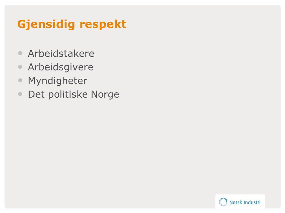Gjensidig respekt • Arbeidstakere • Arbeidsgivere • Myndigheter • Det politiske Norge