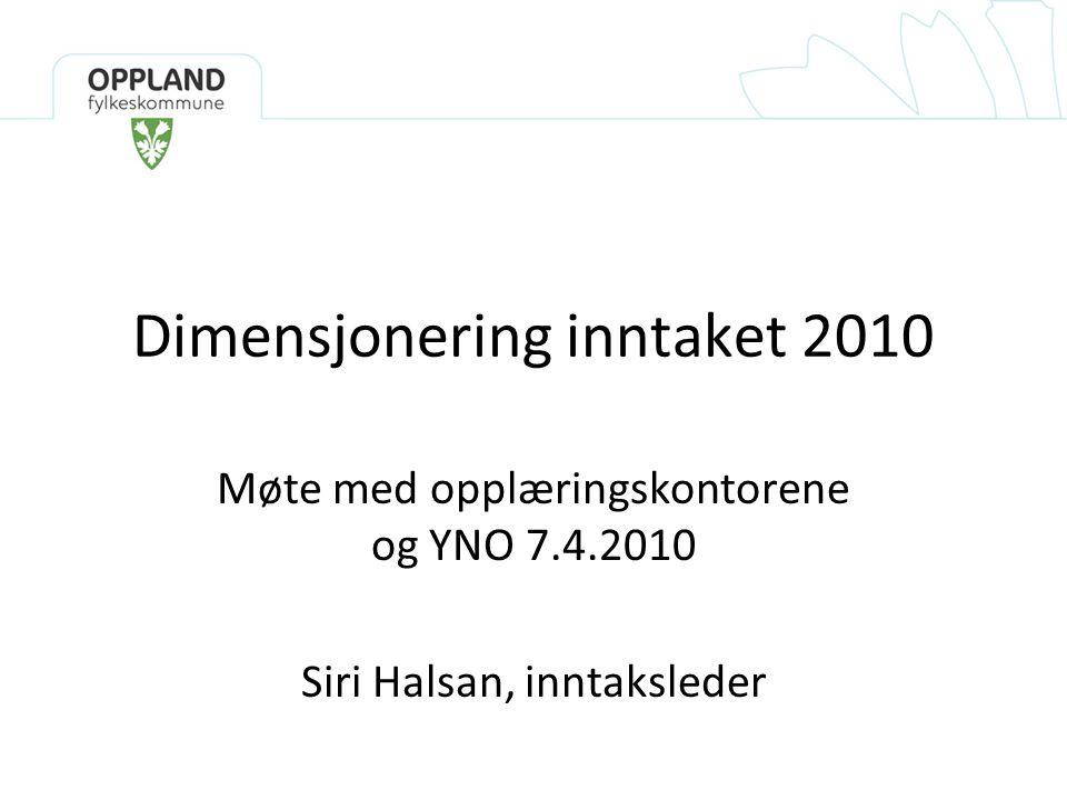 Dimensjonering inntaket 2010 Møte med opplæringskontorene og YNO 7.4.2010 Siri Halsan, inntaksleder