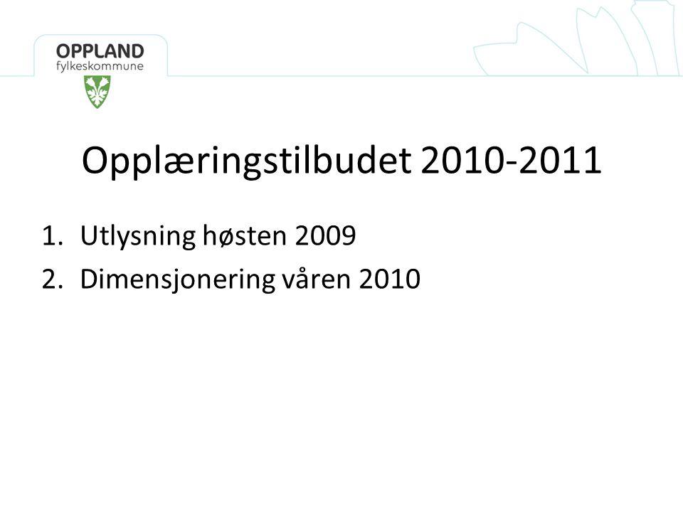 Opplæringstilbudet 2010-2011 1.Utlysning høsten 2009 2.Dimensjonering våren 2010