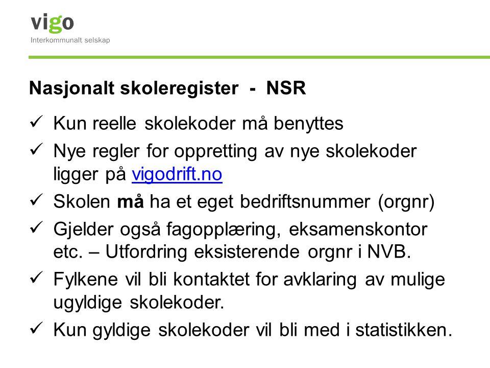 Nasjonalt skoleregister - NSR  Kun reelle skolekoder må benyttes  Nye regler for oppretting av nye skolekoder ligger på vigodrift.novigodrift.no  S