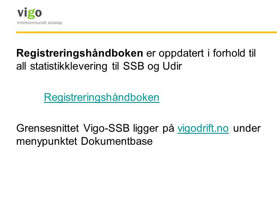 Registreringshåndboken er oppdatert i forhold til all statistikklevering til SSB og Udir Registreringshåndboken Grensesnittet Vigo-SSB ligger på vigod