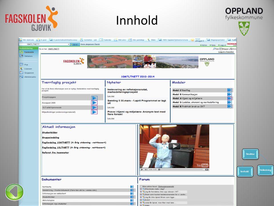 Innhold • Aktiviteter • Oppgaver Lærerkonferansen 201111 StrukturVeiledningInnhold