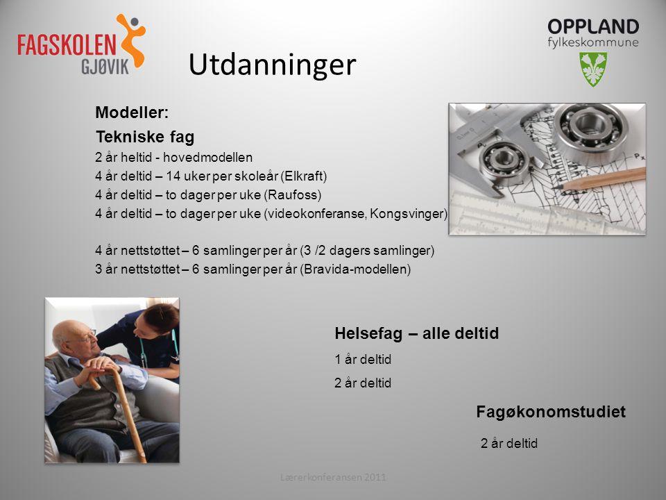 Modeller: Tekniske fag 2 år heltid - hovedmodellen 4 år deltid – 14 uker per skoleår (Elkraft) 4 år deltid – to dager per uke (Raufoss) 4 år deltid – to dager per uke (videokonferanse, Kongsvinger) 4 år nettstøttet – 6 samlinger per år (3 /2 dagers samlinger) 3 år nettstøttet – 6 samlinger per år (Bravida-modellen) Lærerkonferansen 20113 Utdanninger Helsefag – alle deltid 1 år deltid 2 år deltid Fagøkonomstudiet 2 år deltid