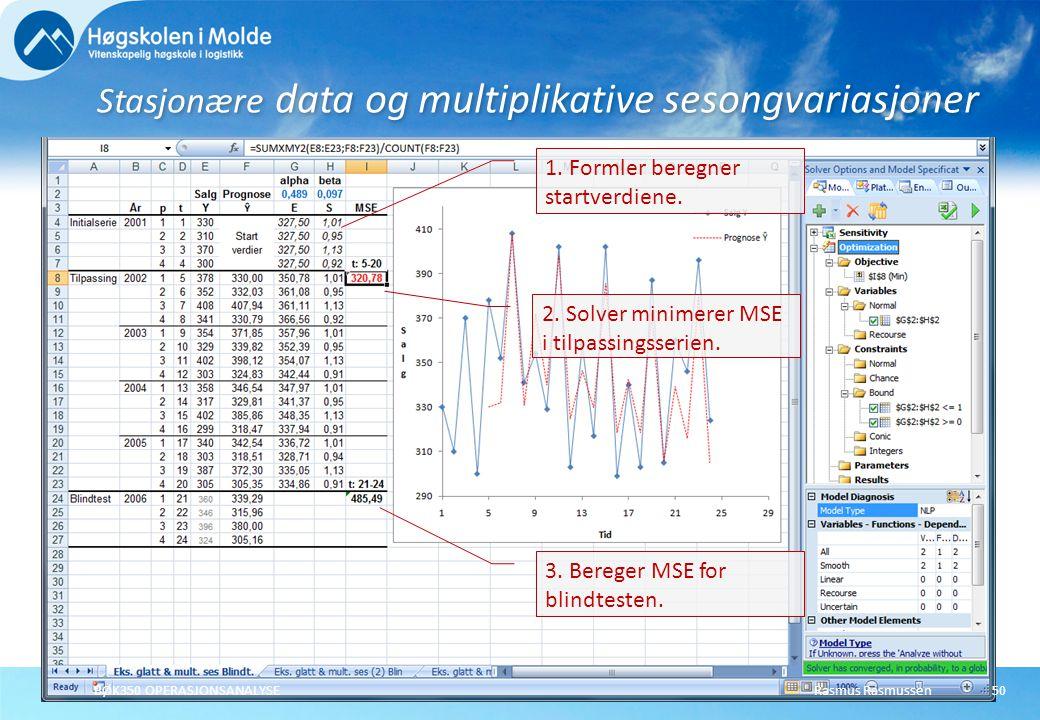 Rasmus RasmussenBØK350 OPERASJONSANALYSE51 Stasjonære data og multiplikative sesongvariasjoner 2.