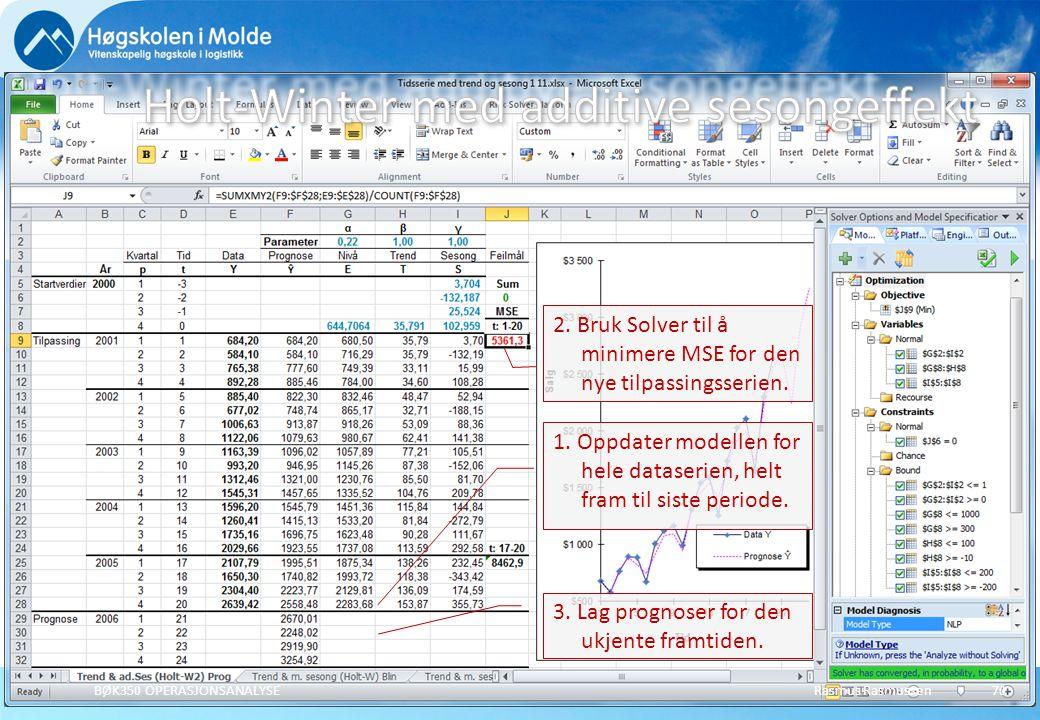 Rasmus RasmussenBØK350 OPERASJONSANALYSE71 Prediksjoner for periodene 21 til 24 ved tidspunkt 20: Holt-Winter's modell Additive sesongeffekter