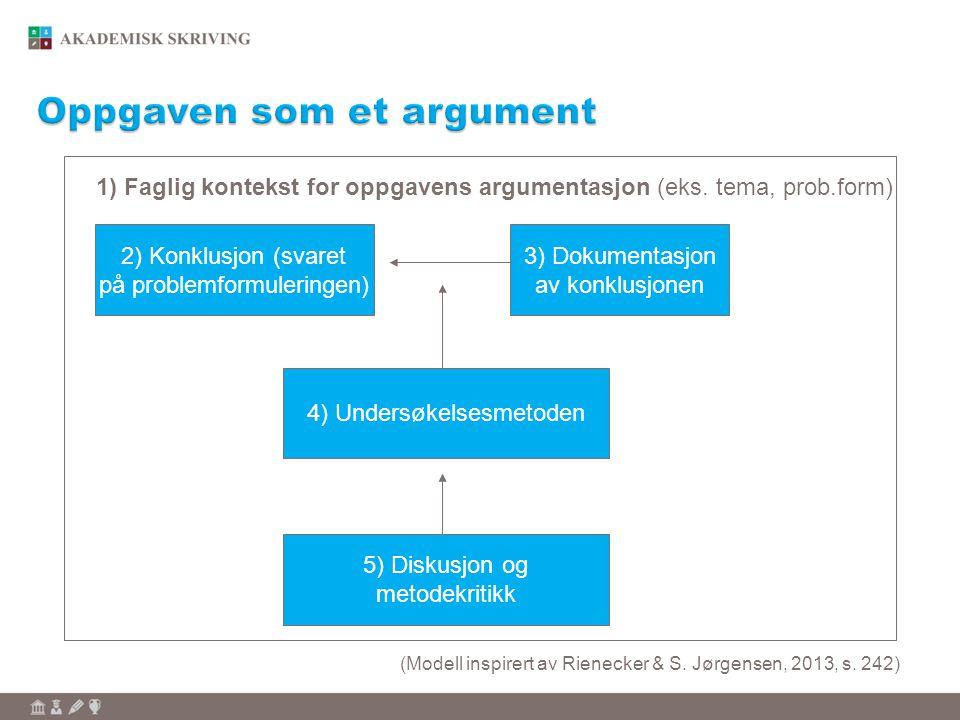 2) Konklusjon (svaret på problemformuleringen) 3) Dokumentasjon av konklusjonen 4) Undersøkelsesmetoden 1) Faglig kontekst for oppgavens argumentasjon