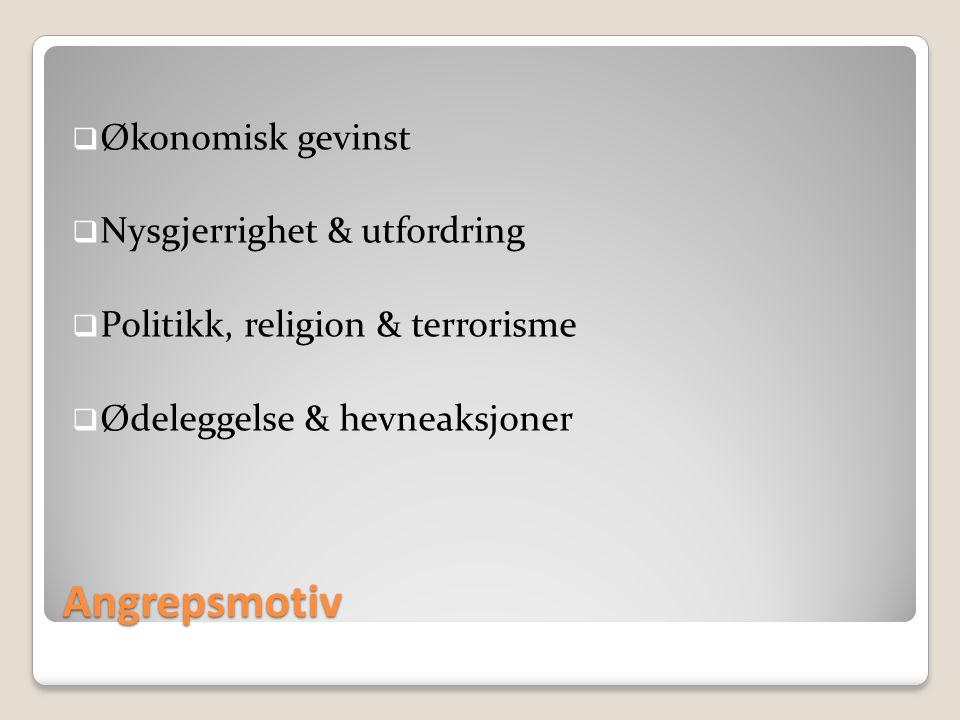 Angrepsmotiv  Økonomisk gevinst  Nysgjerrighet & utfordring  Politikk, religion & terrorisme  Ødeleggelse & hevneaksjoner