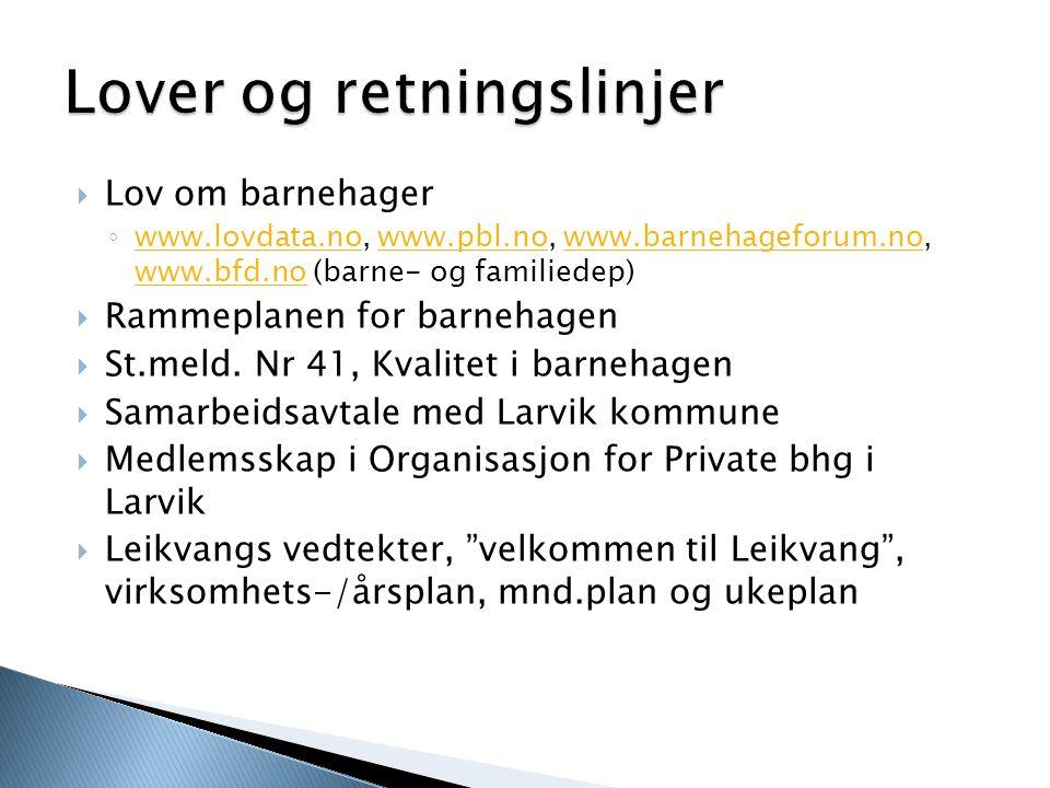  Lov om barnehager ◦ www.lovdata.no, www.pbl.no, www.barnehageforum.no, www.bfd.no (barne- og familiedep) www.lovdata.nowww.pbl.nowww.barnehageforum.