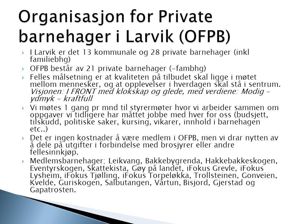  I Larvik er det 13 kommunale og 28 private barnehager (inkl familiebhg)  OFPB består av 21 private barnehager (-fambhg)  Felles målsetning er at kvaliteten på tilbudet skal ligge i møtet mellom mennesker, og at opplevelser i hverdagen skal stå i sentrum.