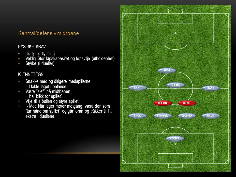 Sentral/defensiv midtbane FYSISKE KRAV • Hurtig forflyttning • Veldig Stor løpskapasitet og løpsvilje (utholdenhet) • Styrke (i dueller) KJENNETEGN •
