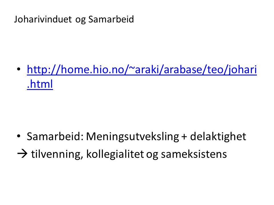 Joharivinduet og Samarbeid • http://home.hio.no/~araki/arabase/teo/johari.html http://home.hio.no/~araki/arabase/teo/johari.html • Samarbeid: Meningsu