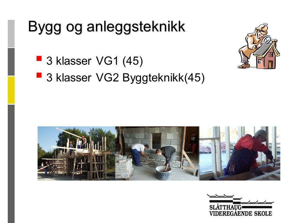 Timetallene er oppgitt i 45 minutters enheter per uke Prosjekt til fordypning kan du bruke til  å forberede deg til et programområde på Vg2  å forberede deg til et ønsket lærefag  fellesfag fra Vg3 påbygging til generell studiekompetanse Vg1 yrkesfaglige utdanningsprogram Fellesfag (12 timer/uke) 2 Norsk 3 Engelsk 3 Matematikk 2 Naturfag 2 Kroppsøving Felles programfag (17 timer/uke) Prosjekt til fordypning (6 timer/uke) Totalt 35 timer/uke Vg2 yrkesfaglige utdanningsprogram Fellesfag (9 timer/uke) 2 Norsk 2 Engelsk 3 Samfunnsfag 2 Kroppsøving Felles programfag (17 timer/uke) Prosjekt til fordypning (9 timer/uke) Totalt 35 timer/uke Opplæring i bedrift eller Vg3 påbygging til generell studiekompetanse Fellesfag (25 timer/uke) 10 Norsk 5 Matematikk 3 Naturfag 5 Historie 2 Kroppsøving Programfag (5 timer/uke) 5 Rettslære 1/ 5 Scenografi og kostyme/ 5 Sosiologi og sosialantrop.