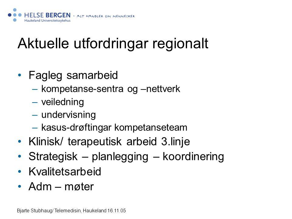 Bjarte Stubhaug/ Telemedisin, Haukeland 16.11.05 Aktuelle utfordringar regionalt •Fagleg samarbeid –kompetanse-sentra og –nettverk –veiledning –undervisning –kasus-drøftingar kompetanseteam •Klinisk/ terapeutisk arbeid 3.linje •Strategisk – planlegging – koordinering •Kvalitetsarbeid •Adm – møter