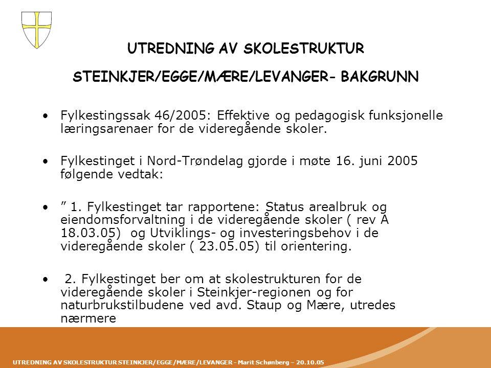 UTREDNING AV SKOLESTRUKTUR STEINKJER/EGGE/MÆRE/LEVANGER - Marit Schønberg – 20.10.05 UTREDNING AV SKOLESTRUKTUR STEINKJER/EGGE/MÆRE/LEVANGER- BAKGRUNN •Utredningen må også omfatte en vurdering av bedre utnyttelse av eksisterende areal.