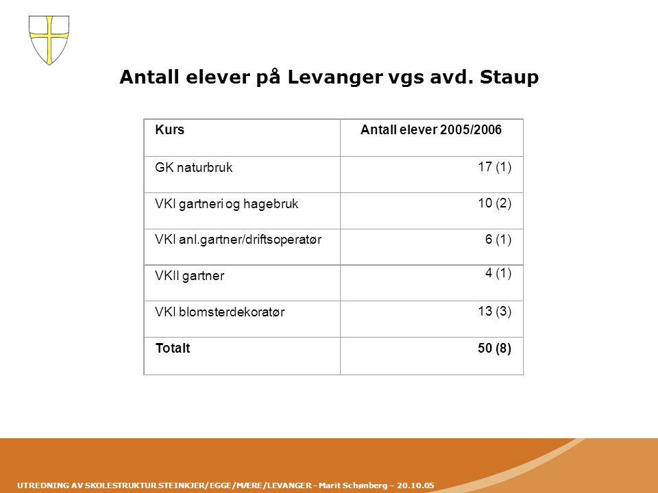 UTREDNING AV SKOLESTRUKTUR STEINKJER/EGGE/MÆRE/LEVANGER - Marit Schønberg – 20.10.05 Antall elever på Levanger vgs avd. Staup Kurs Antall elever 2005/