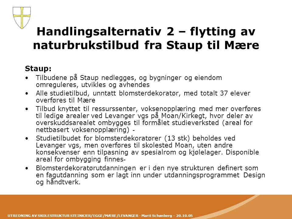 UTREDNING AV SKOLESTRUKTUR STEINKJER/EGGE/MÆRE/LEVANGER - Marit Schønberg – 20.10.05 Handlingsalternativ 2 – flytting av naturbrukstilbud fra Staup ti
