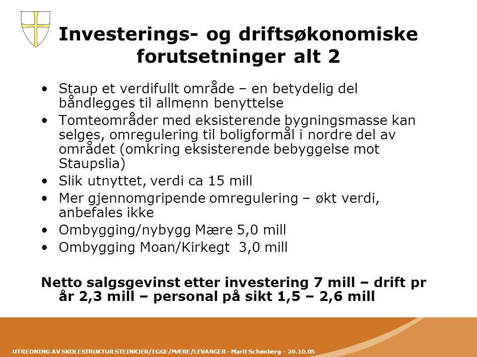 UTREDNING AV SKOLESTRUKTUR STEINKJER/EGGE/MÆRE/LEVANGER - Marit Schønberg – 20.10.05 Investerings- og driftsøkonomiske forutsetninger alt 2 •Staup et