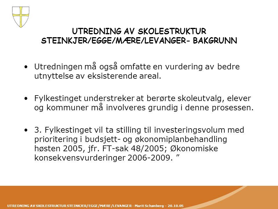 UTREDNING AV SKOLESTRUKTUR STEINKJER/EGGE/MÆRE/LEVANGER - Marit Schønberg – 20.10.05 UTREDNING AV SKOLESTRUKTUR STEINKJER/EGGE/MÆRE/LEVANGER- BAKGRUNN