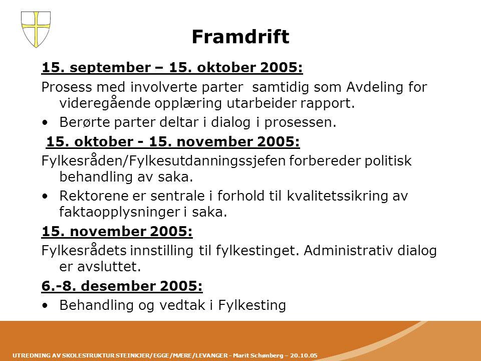 UTREDNING AV SKOLESTRUKTUR STEINKJER/EGGE/MÆRE/LEVANGER - Marit Schønberg – 20.10.05 Framdrift 15. september – 15. oktober 2005: Prosess med involvert