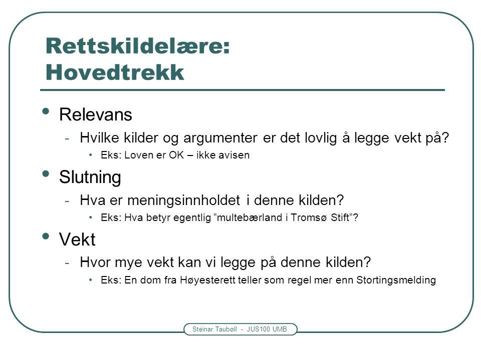 Steinar Taubøll - JUS100 UMB Rettskildelære: Hovedtrekk • Relevans -Hvilke kilder og argumenter er det lovlig å legge vekt på? •Eks: Loven er OK – ikk