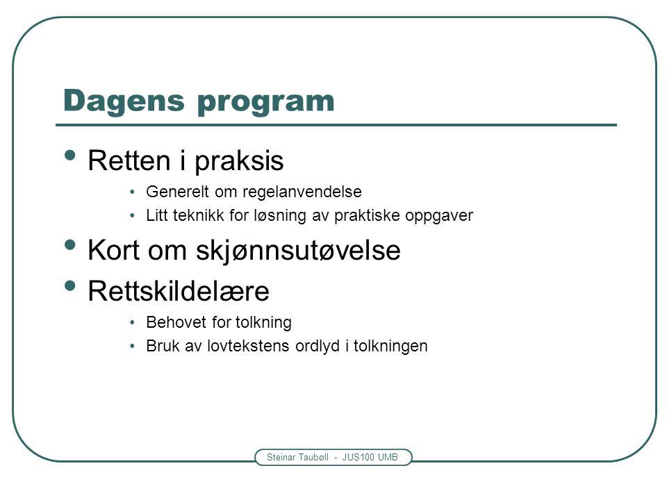 Steinar Taubøll - JUS100 UMB Dagens program • Retten i praksis •Generelt om regelanvendelse •Litt teknikk for løsning av praktiske oppgaver • Kort om