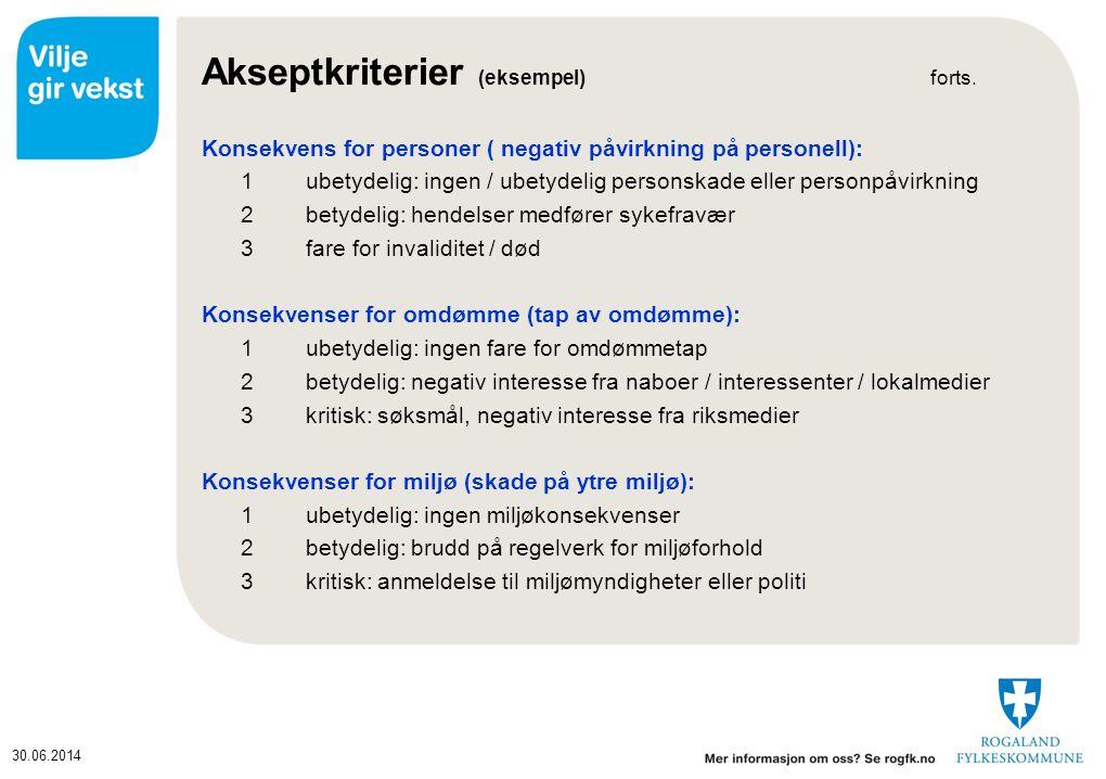 30.06.2014 Akseptkriterier (eksempel) forts.