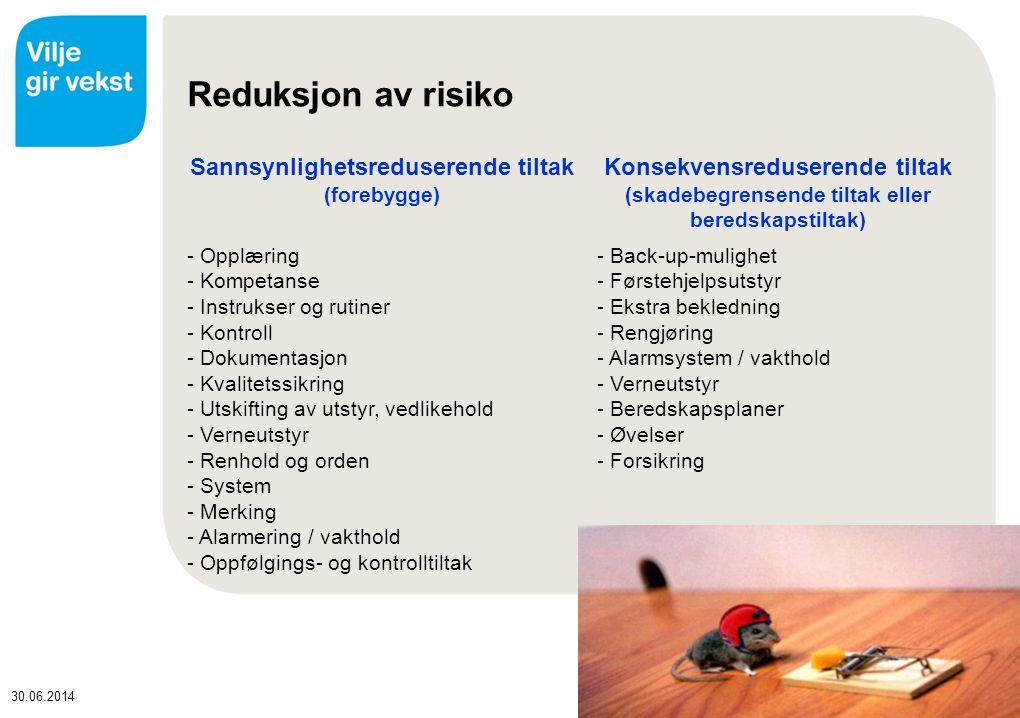 30.06.2014 Reduksjon av risiko Sannsynlighetsreduserende tiltak (forebygge) Konsekvensreduserende tiltak (skadebegrensende tiltak eller beredskapstiltak) - Opplæring - Kompetanse - Instrukser og rutiner - Kontroll - Dokumentasjon - Kvalitetssikring - Utskifting av utstyr, vedlikehold - Verneutstyr - Renhold og orden - System - Merking - Alarmering / vakthold - Oppfølgings- og kontrolltiltak - Back-up-mulighet - Førstehjelpsutstyr - Ekstra bekledning - Rengjøring - Alarmsystem / vakthold - Verneutstyr - Beredskapsplaner - Øvelser - Forsikring