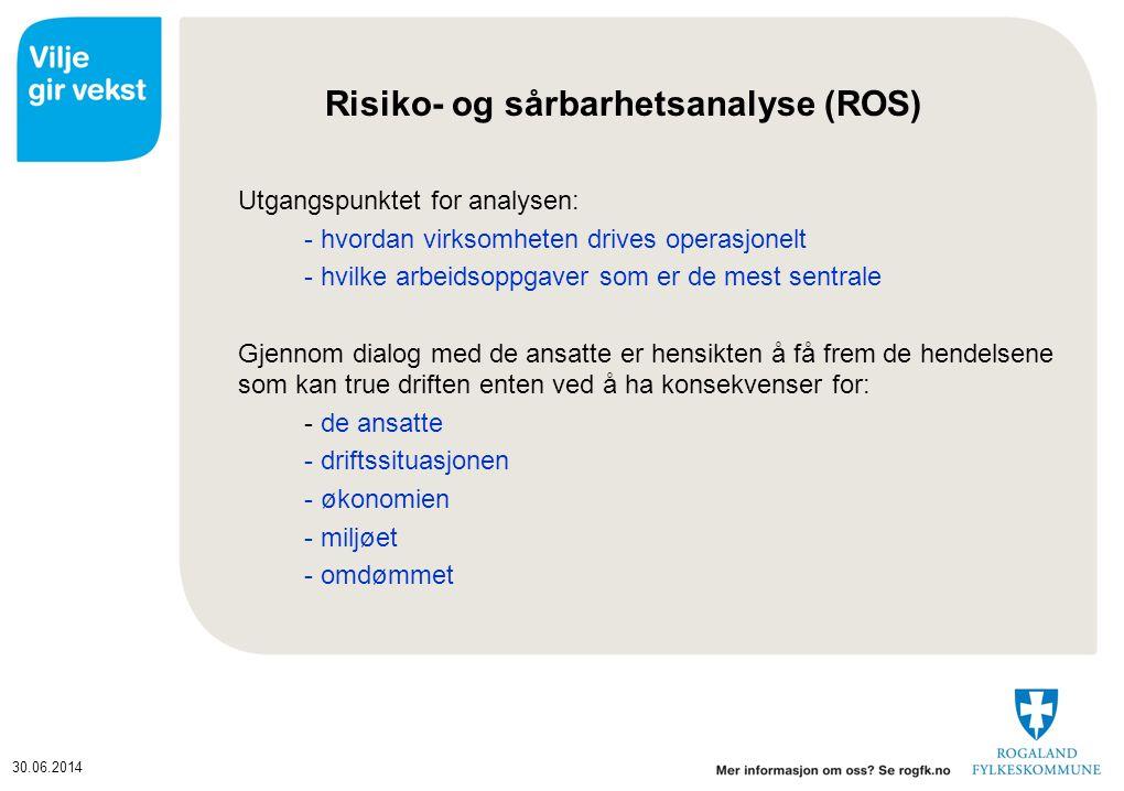 30.06.2014 Risiko- og sårbarhetsanalyse (ROS-analyse) 1.Beskriv egen virksomhet (delprosesser, aktiviteter, arbeidsoppgaver).