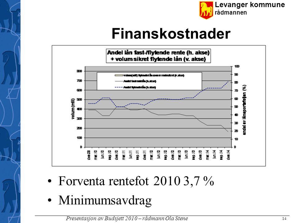 Levanger kommune rådmannen Presentasjon av Budsjett 2010 – rådmann Ola Stene Finanskostnader •Forventa rentefot 2010 3,7 % •Minimumsavdrag 14