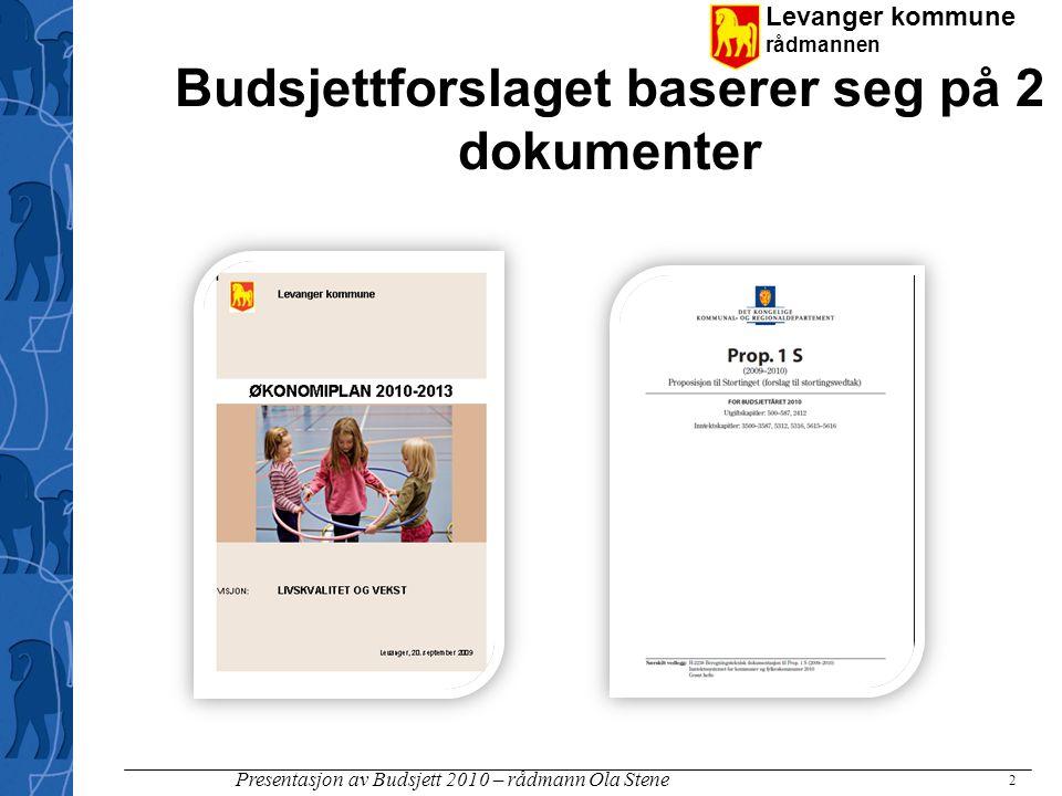 Levanger kommune rådmannen Presentasjon av Budsjett 2010 – rådmann Ola Stene Inntektssystemet for kommunene Innbyggertilskudd (ca 10 000 kr) - korrigeres for utgiftsutjevnende tilskudd Inntektsutjevnende tilskudd Nord- Nor- ges- tilsk.