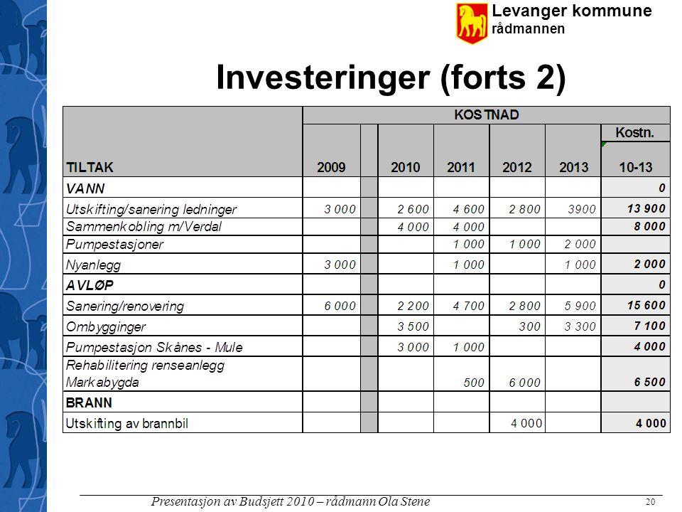 Levanger kommune rådmannen Presentasjon av Budsjett 2010 – rådmann Ola Stene Investeringer (forts 2) 20