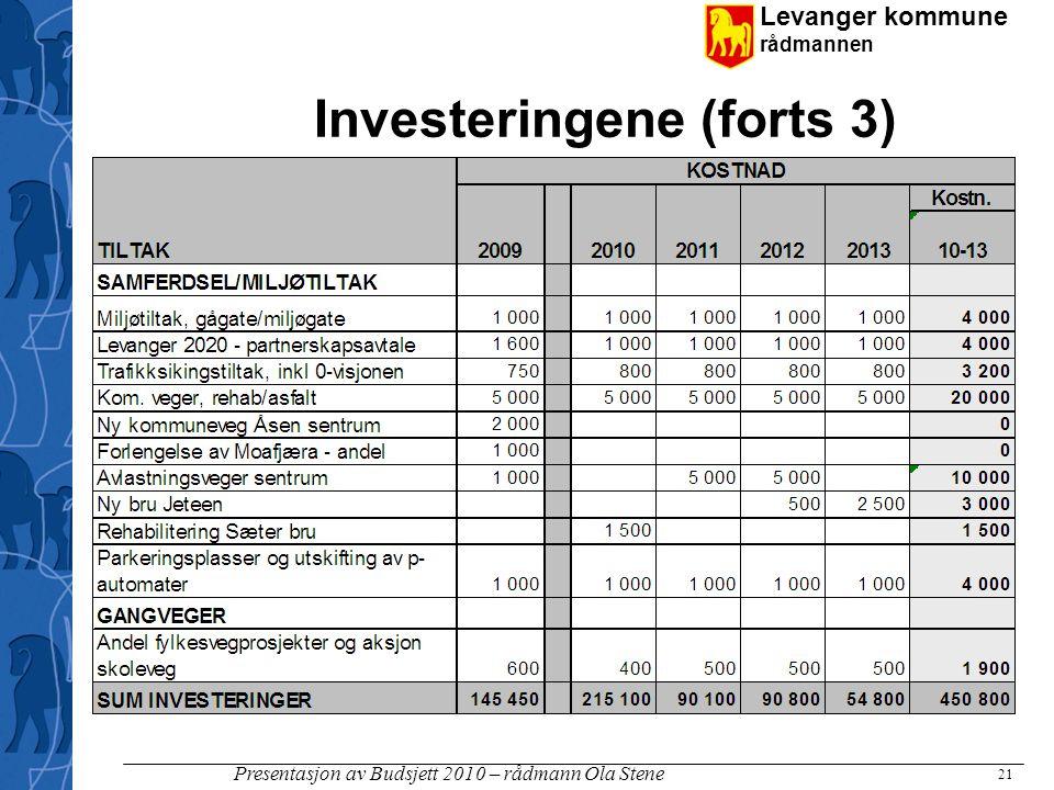 Levanger kommune rådmannen Presentasjon av Budsjett 2010 – rådmann Ola Stene Investeringene (forts 3) 21