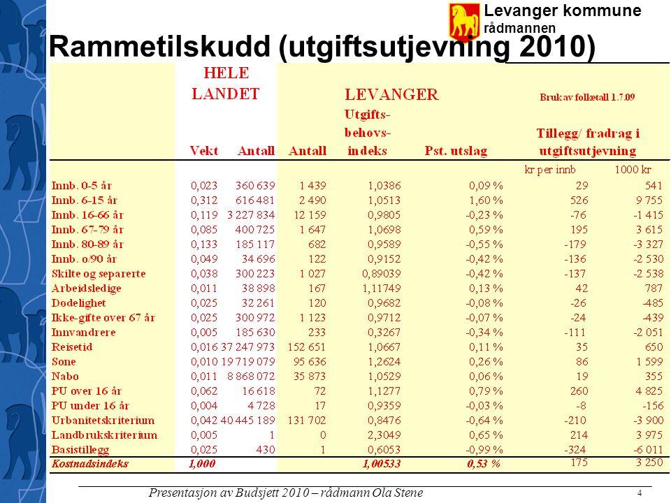 Levanger kommune rådmannen Presentasjon av Budsjett 2010 – rådmann Ola Stene 4 Rammetilskudd (utgiftsutjevning 2010)