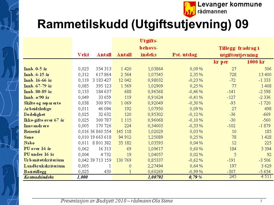 Levanger kommune rådmannen Presentasjon av Budsjett 2010 – rådmann Ola Stene 5 Rammetilskudd (Utgiftsutjevning) 09