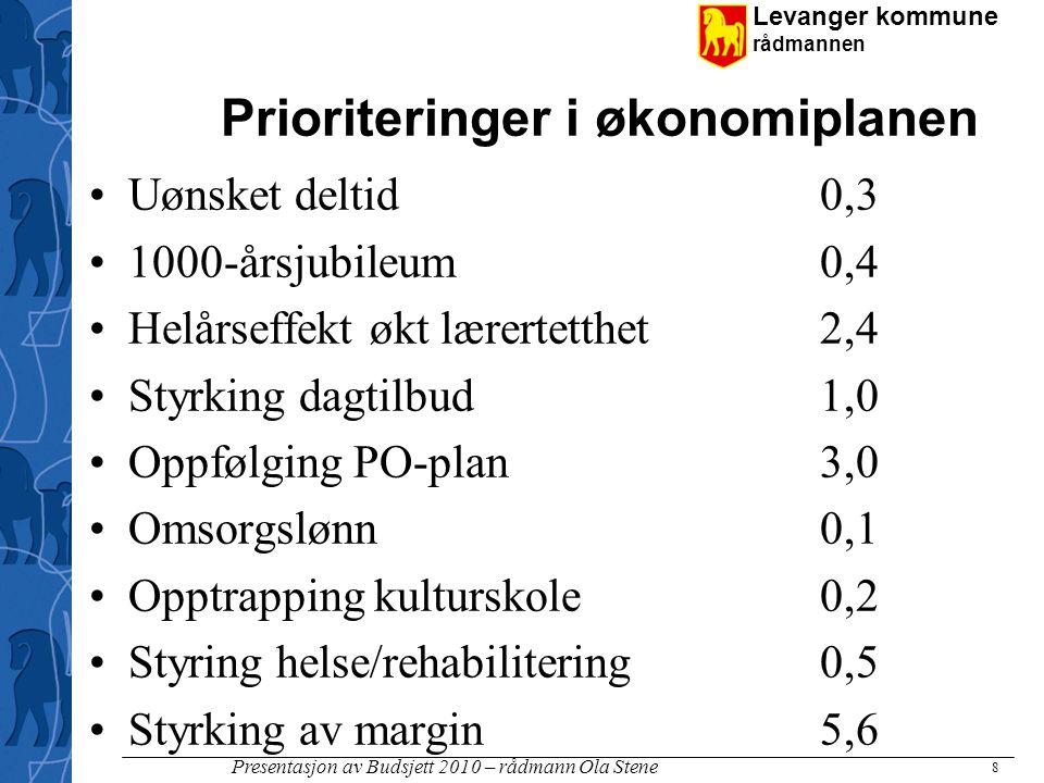 Levanger kommune rådmannen Presentasjon av Budsjett 2010 – rådmann Ola Stene Investeringer (forts) 19