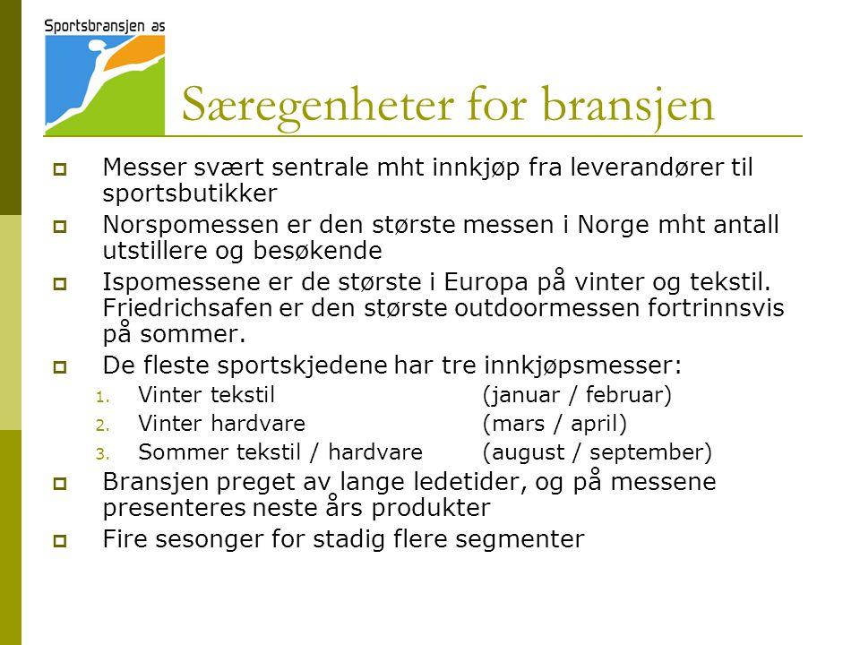 Særegenheter for bransjen  Messer svært sentrale mht innkjøp fra leverandører til sportsbutikker  Norspomessen er den største messen i Norge mht ant