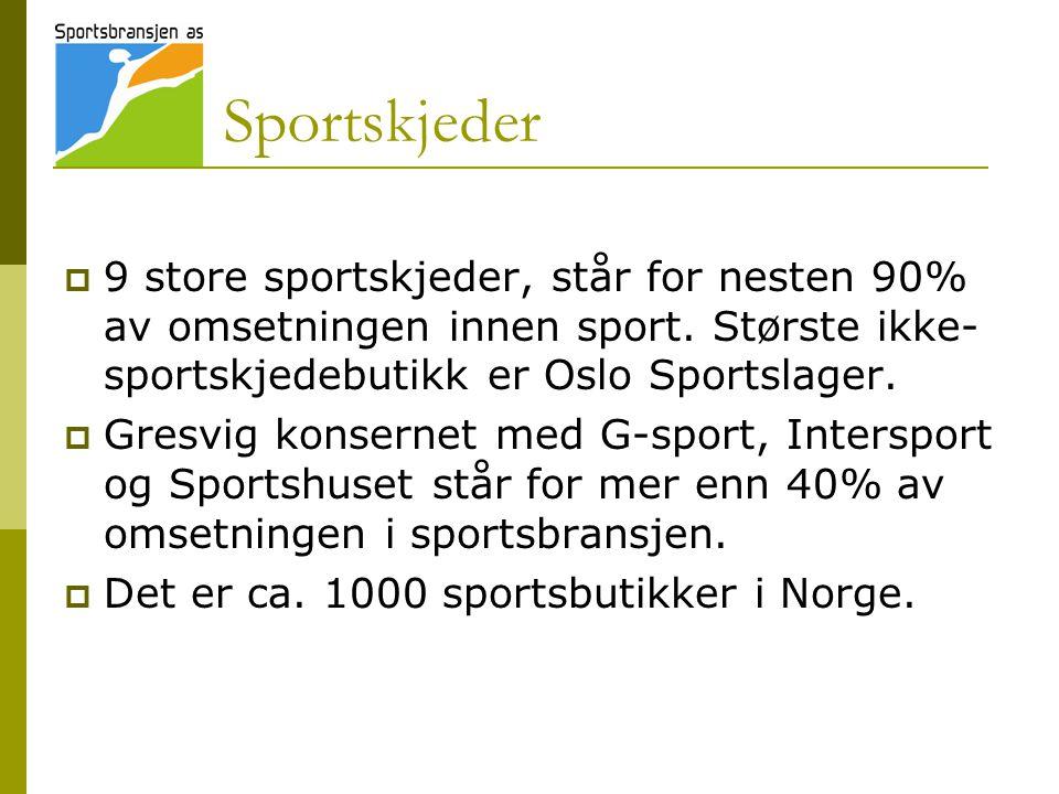 Sportskjeder  9 store sportskjeder, står for nesten 90% av omsetningen innen sport. Største ikke- sportskjedebutikk er Oslo Sportslager.  Gresvig ko