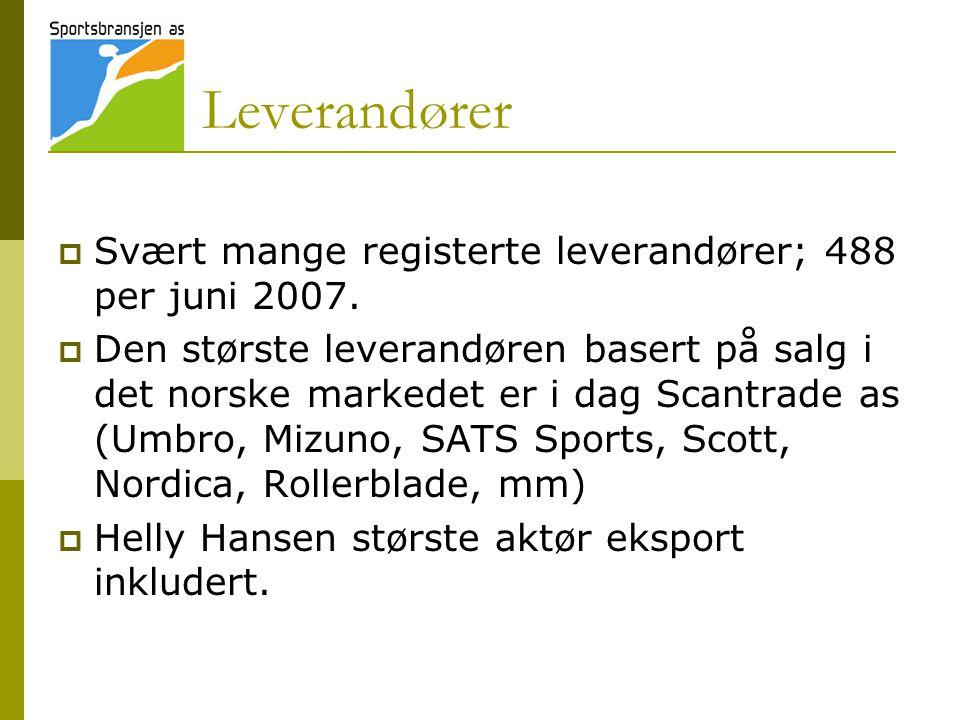 Leverandører  Svært mange registerte leverandører; 488 per juni 2007.  Den største leverandøren basert på salg i det norske markedet er i dag Scantr