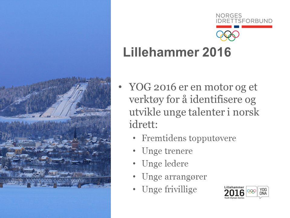 Lillehammer 2016 • YOG 2016 er en motor og et verktøy for å identifisere og utvikle unge talenter i norsk idrett: • Fremtidens topputøvere • Unge trenere • Unge ledere • Unge arrangører • Unge frivillige