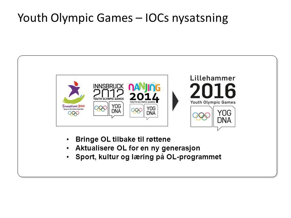 Youth Olympic Games – IOCs nysatsning •Bringe OL tilbake til røttene •Aktualisere OL for en ny generasjon •Sport, kultur og læring på OL-programmet