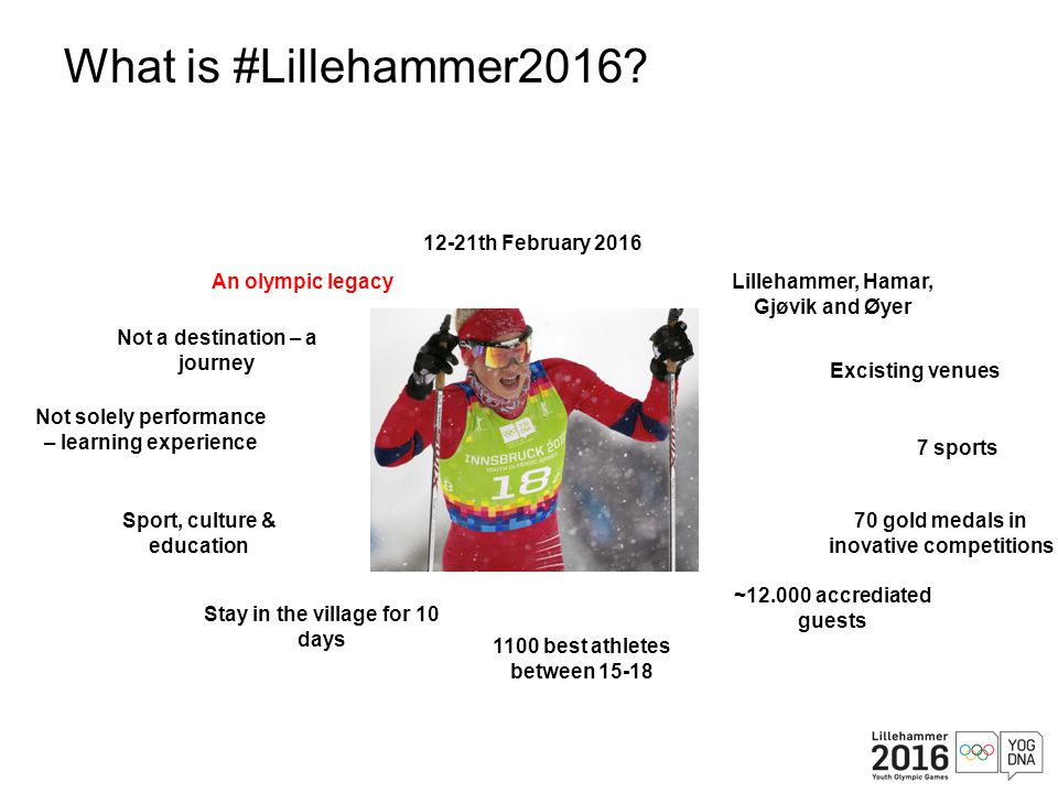 What is #Lillehammer2016? 7 sports 70 gold medals in inovative competitions Not solely performance – learning experience Sport, culture & education 12